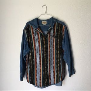 Vintage GUESS Western Button Down w Hood